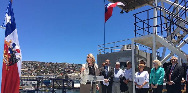 Scripps Director Margaret Leinen aboard research vessel Marcus G. Langseth in Valparaiso, Chile