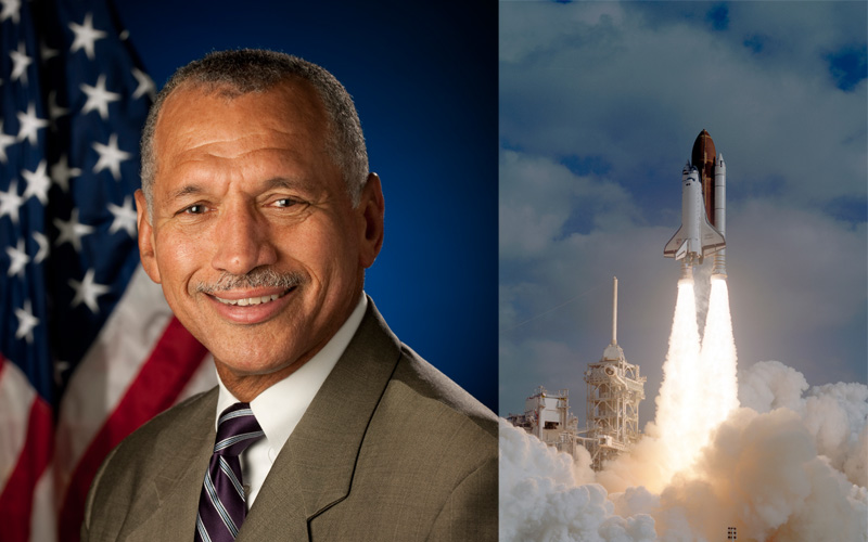 A portrait of astronaut Charles Bolden and an image of a shuttle departing Earth