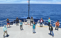 The science party aboard R/V Sally Ride. Laura Lilly is at far left at rear; Angela Klemmedson is fourth from right.