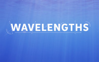 A blue screen with the word Wavelengths written in white letters