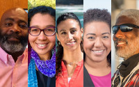 A compilation of profile photos of five Black scientists and staff members