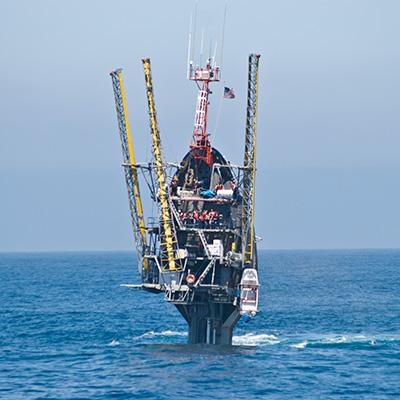 The Floating Instrument Platform FLIP deployed at sea.