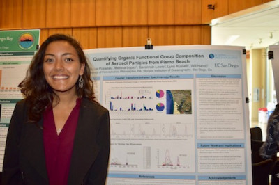 A young woman stands near a research poster