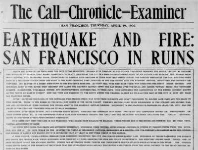 Newspaper account of 1906 San Francisco earthquake