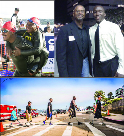 Compilation photo featuring a man in a wetsuit carrying a boy in a wetsuit on his back; a photo of two Black men standing together at an event; and a photo of five people crossing the street--all have prosthetic limbs.