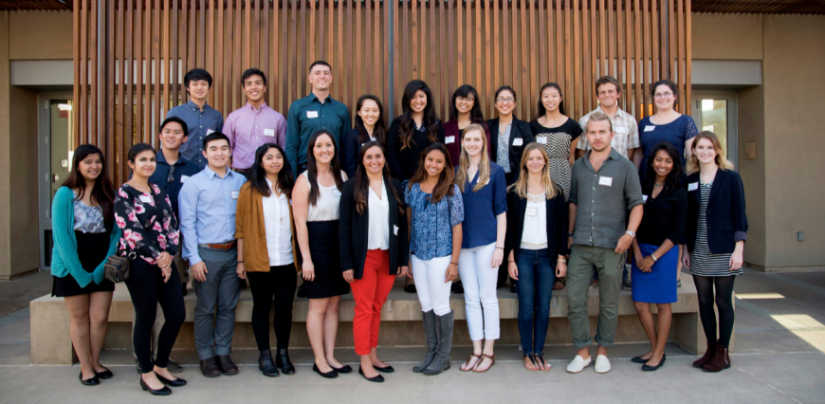 Group photo of international undergraduates at Scripps Seaside Forum.