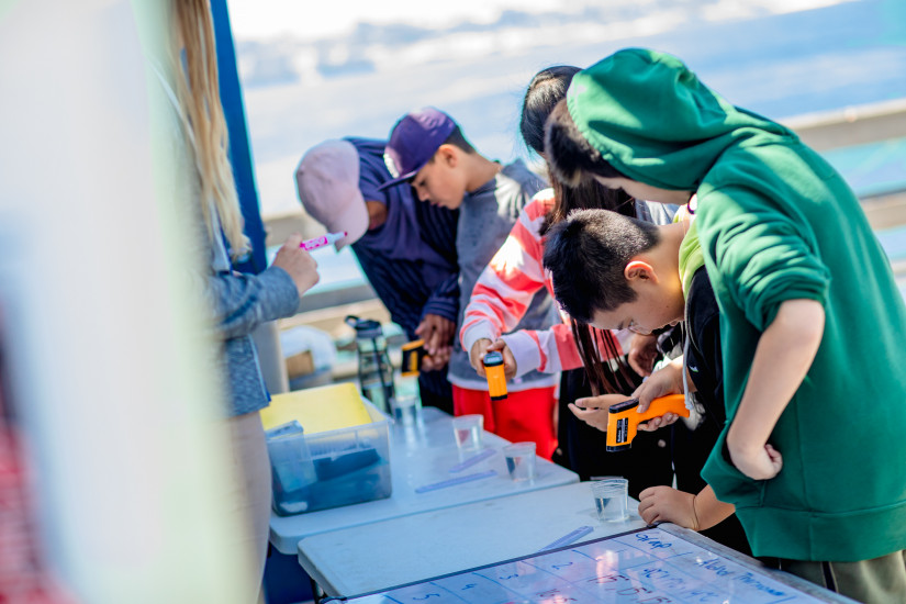 Students conduct experiments on the Scripps Pier