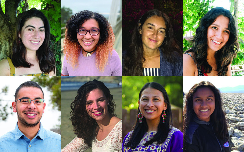 Profile photos of eight college students; seven women and one man