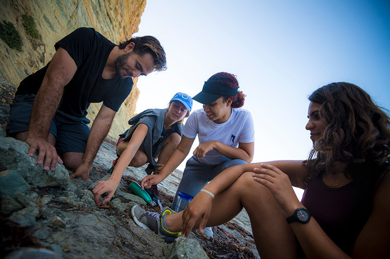 Students study specimens on the beach near Scripps Institution of Oceanography.