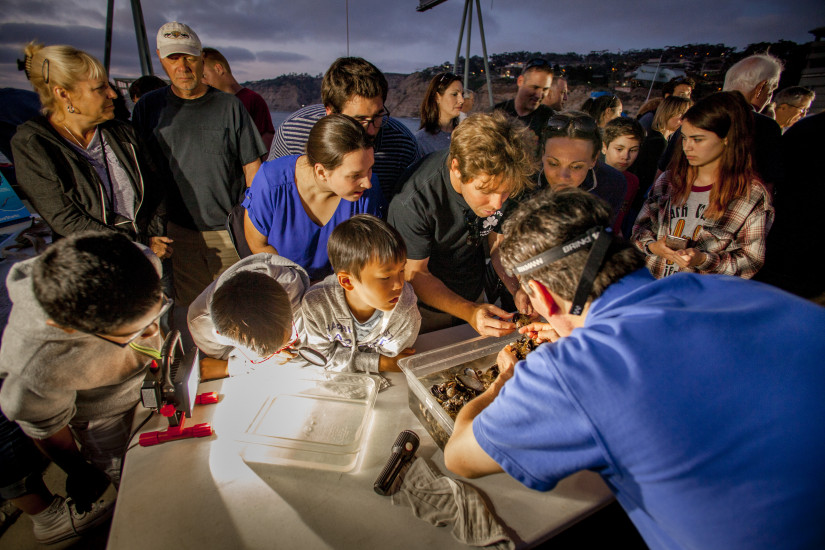 Visitors look at ocean samples during a full moon walk on Scripps Pier.