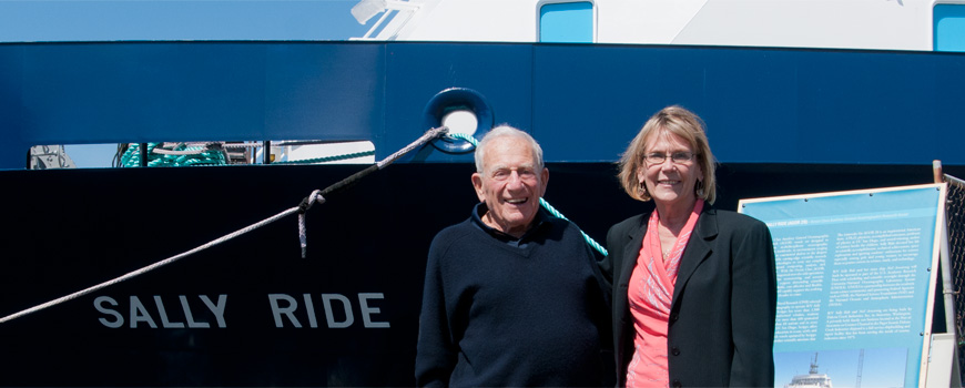 Margaret Leinen and Walter Munk at R/V Sally Ride