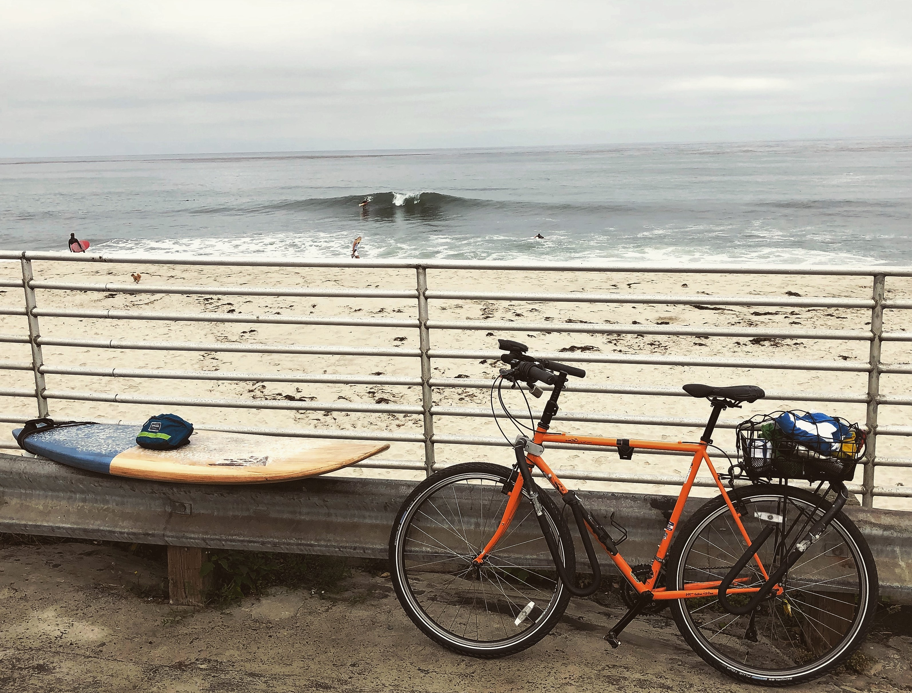 All geared up to bike and surf at Windansea