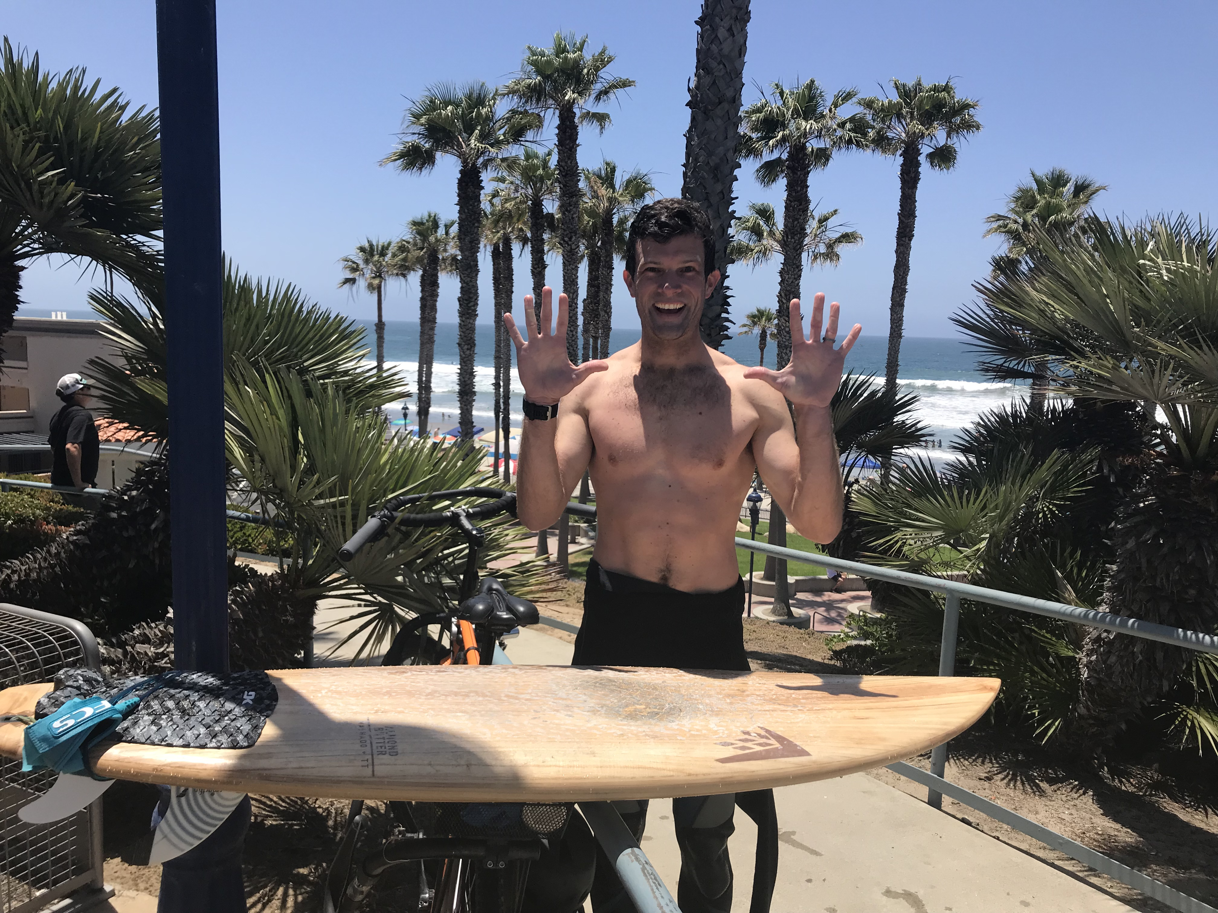 Phil celebrates reaching Day 10 of Bike to Surf Month