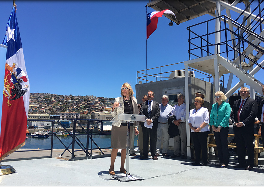 Scripps Director Margaret Leinen addresses the importance of cooperation between Chile and the United States aboard R/V Marcus G. Langseth in Valparaiso, Chile