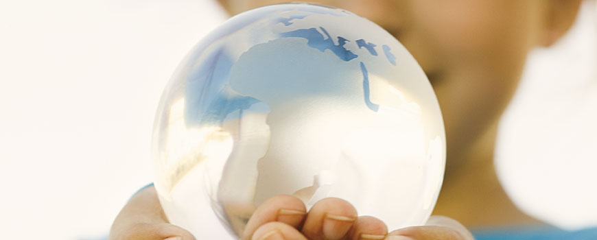 Glass globe held by girl