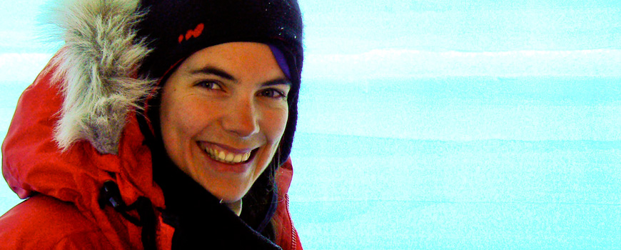 Scripps Oceanography graduate student Anais Orsi at the West Antarctic Ice Sheet.