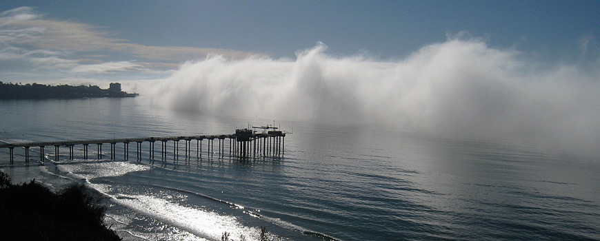 Scripps Pier as the marine layer flows in