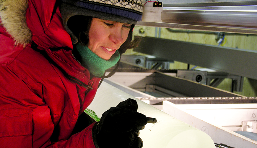 Ice core collected from the deep ice coring project in West Antarctica
