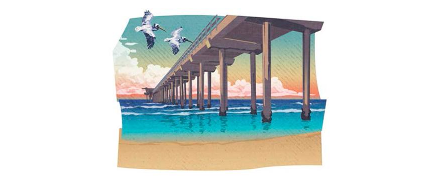 Stylized image of Scripps Pier