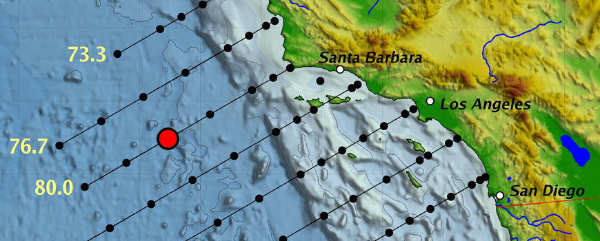 Map of CalCOFI grid stations off the California coast.