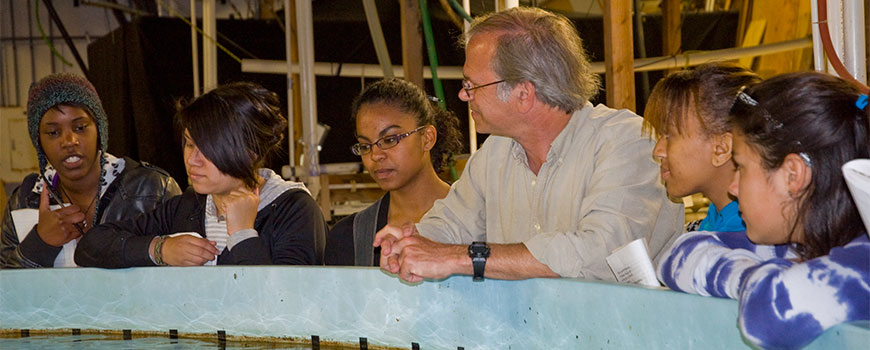 Ron Burton with Interns from the Careers in Science program visiting the Experimental Aquarium