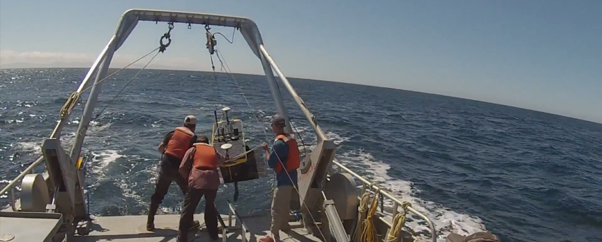 Fieldwork off the coast of Oregon – testing launching of wave glider