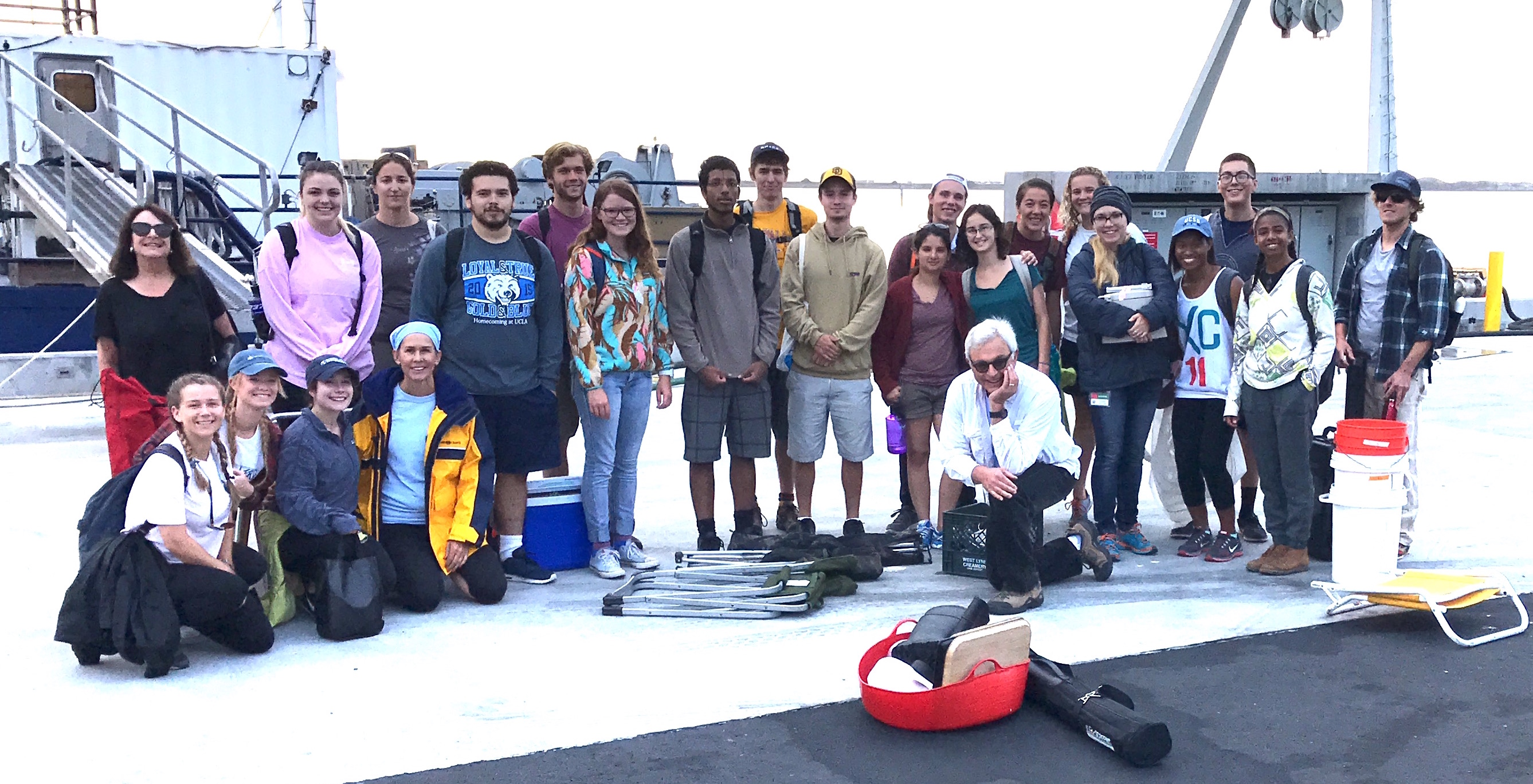 Interns assemble in advance of one-day cruise on research vessel Sproul