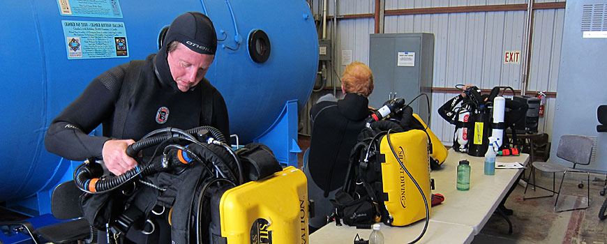 Two divers preparing yellow scuba gear.