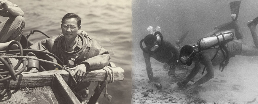 Diver in diving suit at the surface in 1947, with second image of divers in 1952