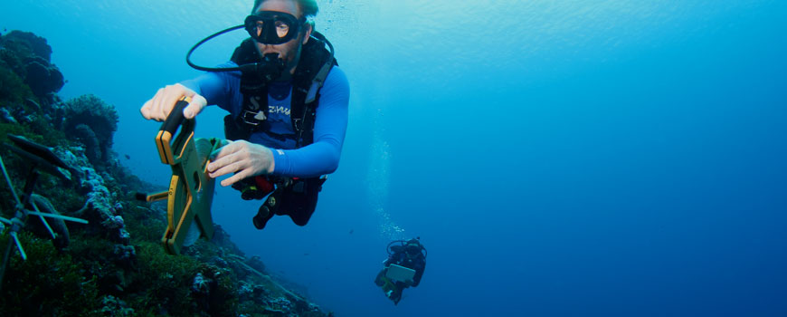 Two divers making measurements on the ocean floor