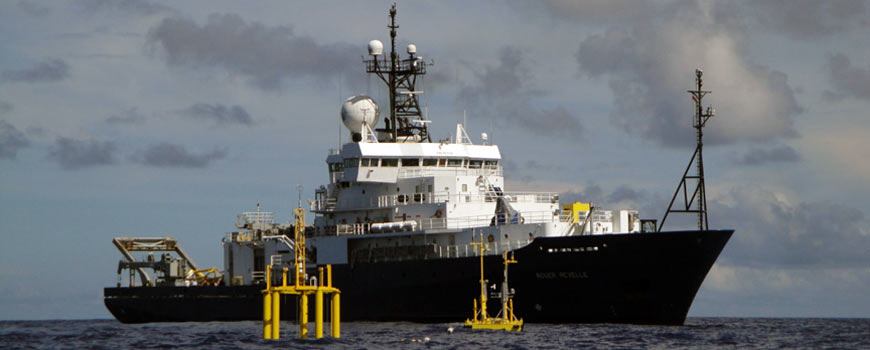 R/V Roger Revelle, pictured here in the western Pacific Ocean in 2010, is a general-purpose, Global Class oceanographic research vessel.