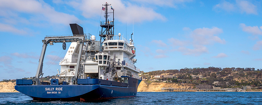 R/V Sally Ride faces friends assembled at the Scripps Oceanography campus upon arrival on 26 August 2016