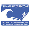 Sign reading go to high ground in case of earthquake or tsunami