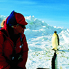 Dr. Jerry Kooyman studying Emperor penguins in Antarctica