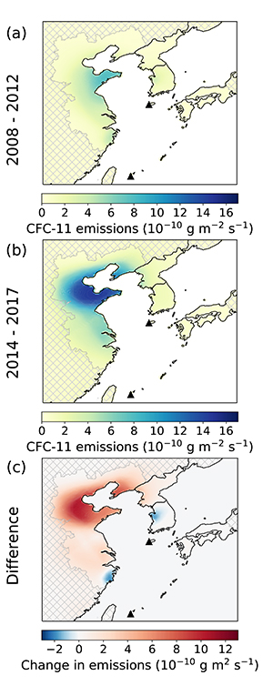 Detected CFC-11 emissions in eastern China 2008-2012 (top), 2014-2017 (middle), and change over total time period (bottom). Image: Nature