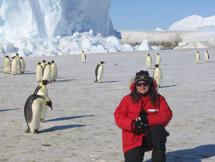 Jessica Meir in the field to study penguins in Antarctica during her Scripps PhD program. Photo: Cassondra Williams