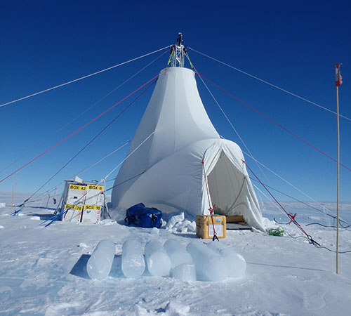 Drill tent at 2019 Antarctic drilling site. Photo by Jacob Morgan.