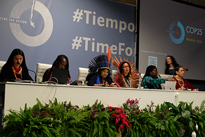 Representatives of indigenous peoples address a COP25 audience. Photo: Andrea Sanchez-Aldana Davidson