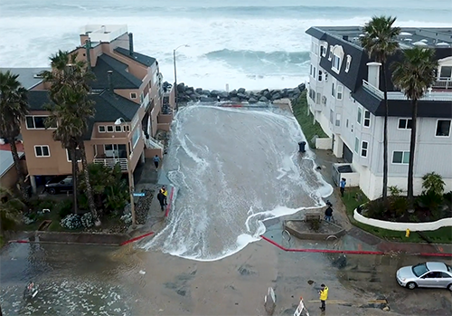 High tide sends seawater onto the streets of Imperial Beach, Jan. 2019.