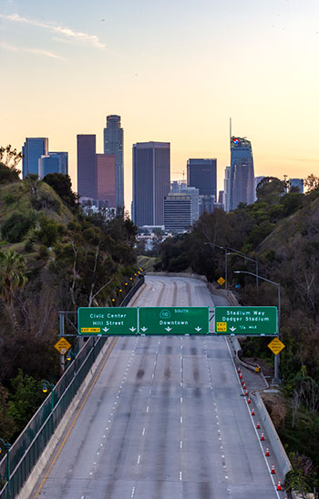 A deserted freeway in downtown Los Angeles, April 2020. Photo: Jeff Poe/iStockPhoto