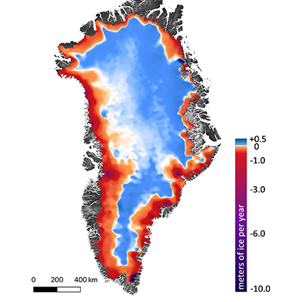 The amount of ice gained or lost by Greenland between 2003 and 2019. Credit: Smith, et al./Science