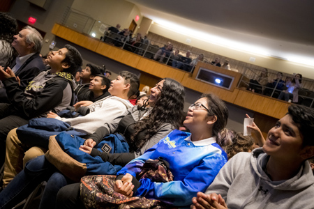 Eighth grade students from two San Diego schools, Fulton K-8 and Memorial Preparatory for Scholars and Athletes, attend the live stream Q&A event with astronaut Jessica Meir.
