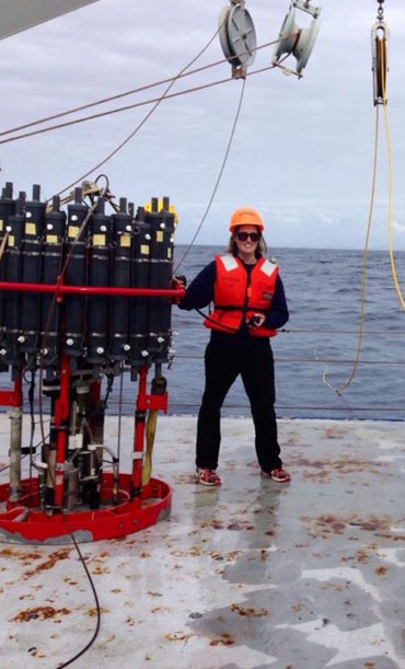 Dominque Barnes on deck during her time a Scripps Institution of Oceanography at UC San Diego.