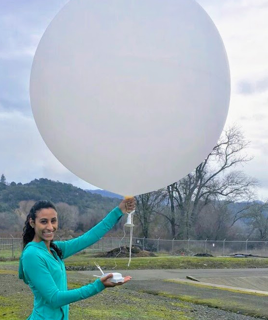 Osborne launching a weather balloon surrounding atmospheric river periods in Ukiah, California.