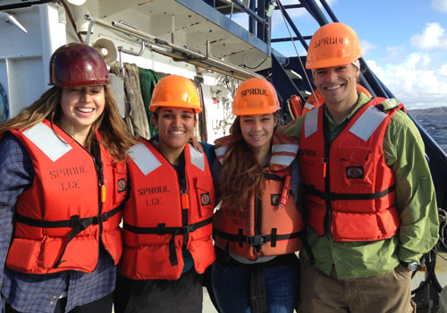 Alyssa Griffin (second from left) and other Scripps students conduct research at sea aboard R/V Robert Gordon Sproul.