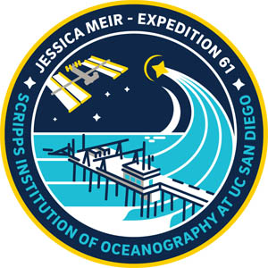 A commemorative patch designed for Meir to represent her journey from Scripps to space.