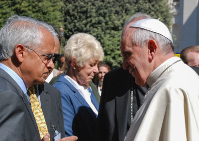 Ramanathan and other researchers meet with Pope Francis. Credit: Pontifical Academy of Sciences.