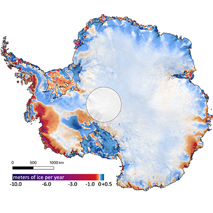 This shows the amount of ice gained or lost by Antarctica between 2003 and 2019. Dark reds and purples show large average rates of ice loss near the Antarctic coast. Credit: Smith, et all.