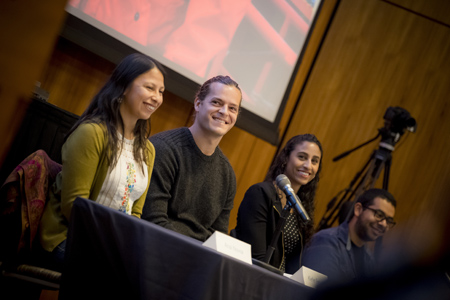 Scripps graduate students Anai Novoa, Kiefer Forsch, Tashiana Osborne, and Ivan Moreno participate in a pre-event science panel, sharing their path to science with local eighth graders.