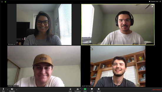 Four college students collaborate via Zoom.